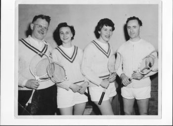 Verna, second from the right, playing badminton